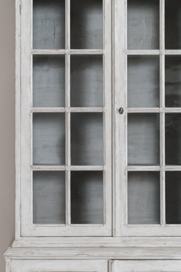 Hand-Crafted Swedish Gustavian Style Four-Door Glass Vitrine Bookcase Cabinet For Sale
