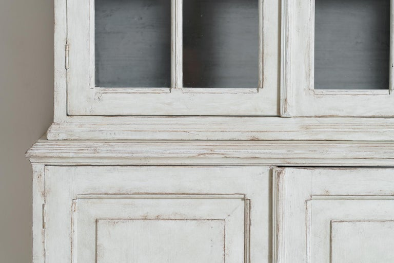 20th Century Swedish Gustavian Style Four-Door Glass Vitrine Bookcase Cabinet For Sale