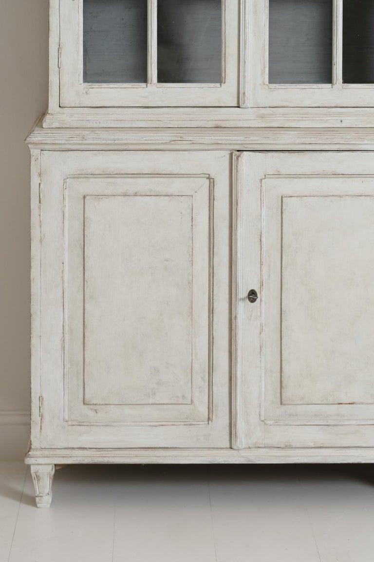 Pine Swedish Gustavian Style Four-Door Glass Vitrine Bookcase Cabinet For Sale