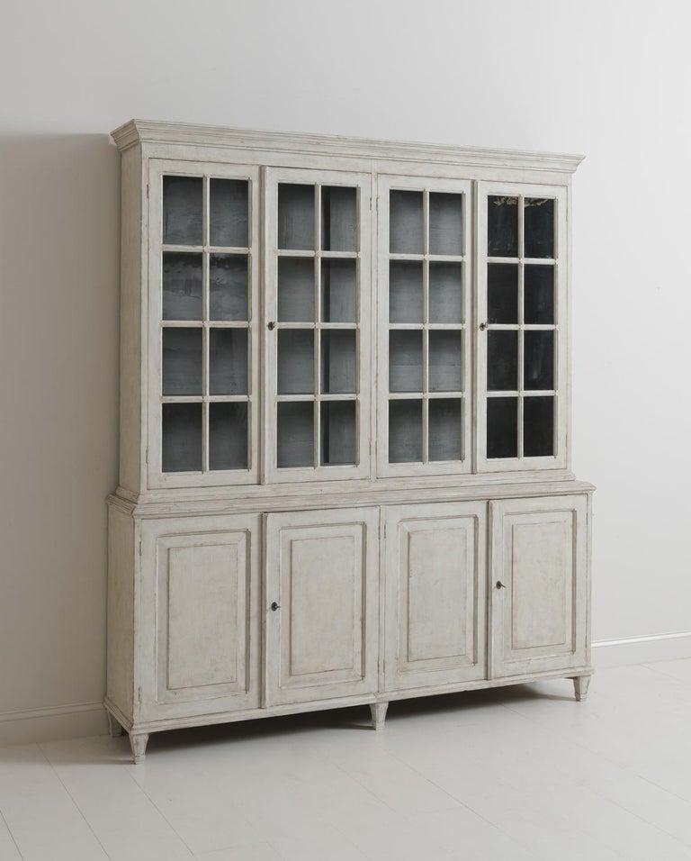 Swedish Gustavian Style Four-Door Glass Vitrine Bookcase Cabinet For Sale 2