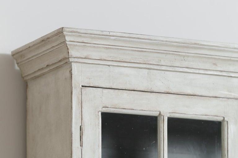 Swedish Gustavian Style Four-Door Glass Vitrine Bookcase Cabinet For Sale 3