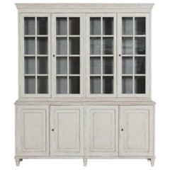 Swedish Gustavian Style Four-Door Glass Vitrine Bookcase Cabinet