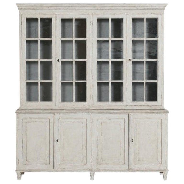 Swedish Gustavian Style Four-Door Glass Vitrine Bookcase Cabinet For Sale
