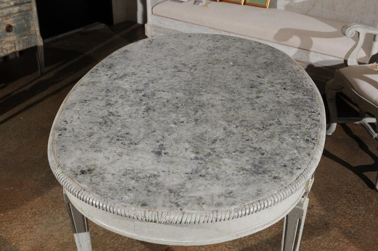 Swedish Gustavian Style Grey Painted Table with Marbleized Oval Top, circa 1880 For Sale 5