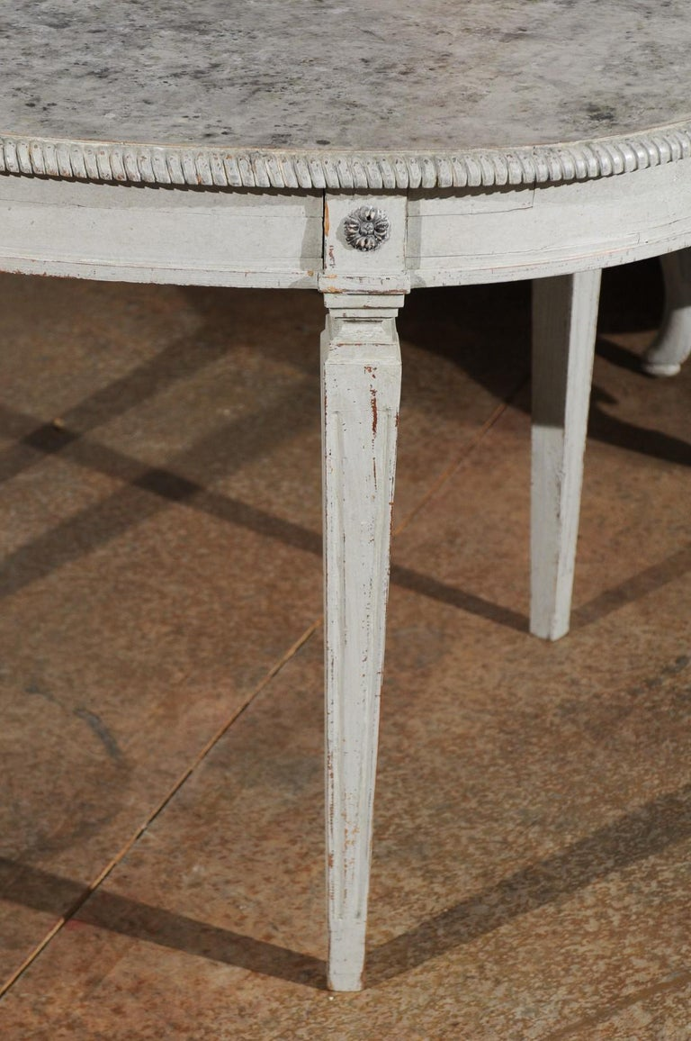 Carved Swedish Gustavian Style Grey Painted Table with Marbleized Oval Top, circa 1880 For Sale