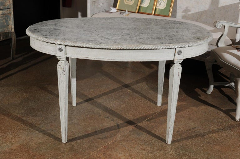 Swedish Gustavian Style Grey Painted Table with Marbleized Oval Top, circa 1880 In Good Condition For Sale In Atlanta, GA