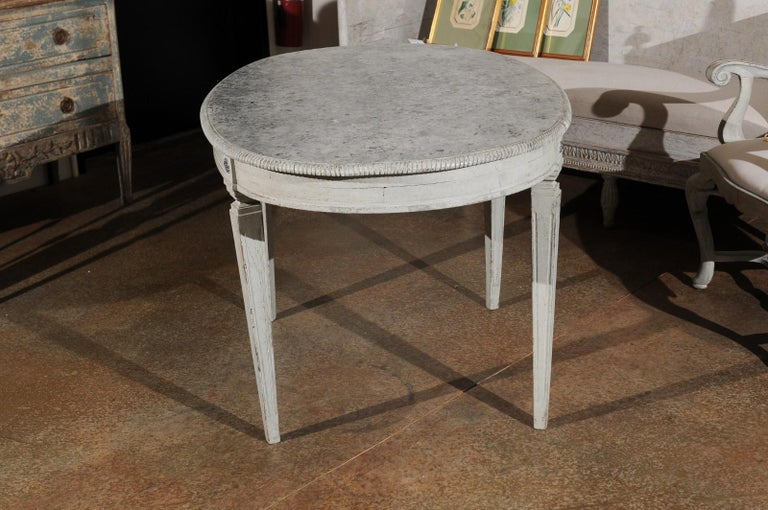 19th Century Swedish Gustavian Style Grey Painted Table with Marbleized Oval Top, circa 1880 For Sale