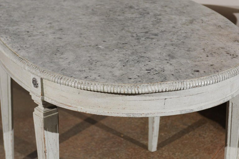 Wood Swedish Gustavian Style Grey Painted Table with Marbleized Oval Top, circa 1880 For Sale