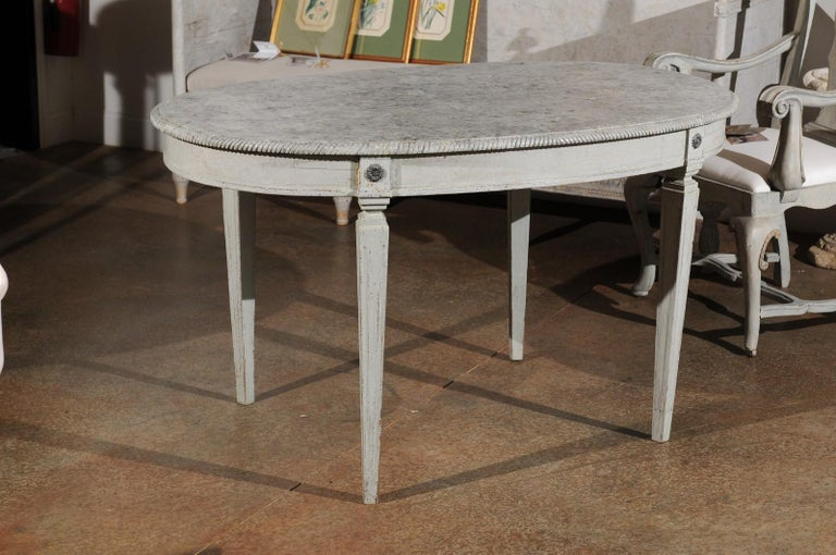 Swedish Gustavian Style Grey Painted Table with Marbleized Oval Top, circa 1880 For Sale 1