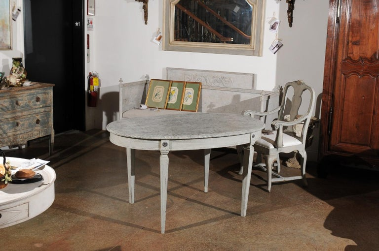 Swedish Gustavian Style Grey Painted Table with Marbleized Oval Top, circa 1880 For Sale 2