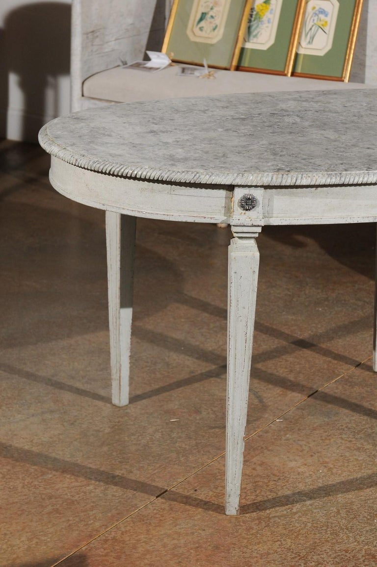 Swedish Gustavian Style Grey Painted Table with Marbleized Oval Top, circa 1880 For Sale 3