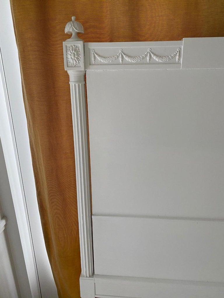 Wood Swedish Gustavian Style King Size Headboard For Sale