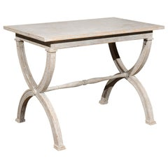 Swedish Gustavian Style Painted Console Table with Curule Base and Stretcher