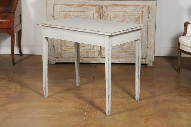 Swedish Gustavian Style Painted Wood Desk with Two Drawers and Diamond Motifs 6