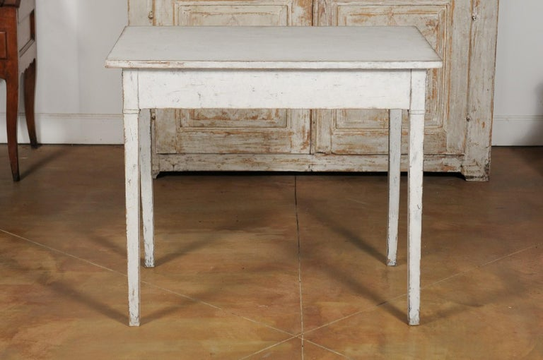 Swedish Gustavian Style Painted Wood Desk with Two Drawers and Diamond Motifs 7