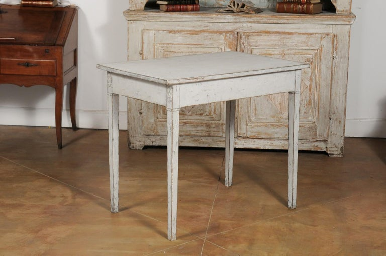 Swedish Gustavian Style Painted Wood Desk with Two Drawers and Diamond Motifs 8