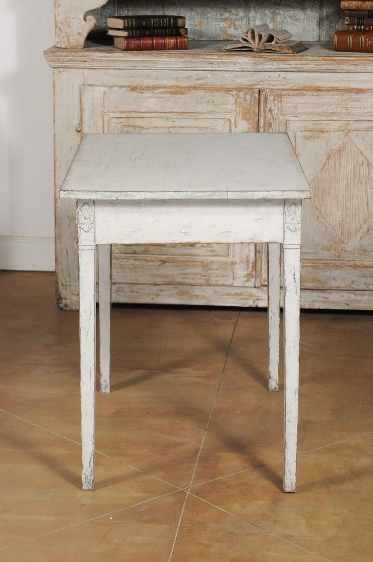 Swedish Gustavian Style Painted Wood Desk with Two Drawers and Diamond Motifs 9