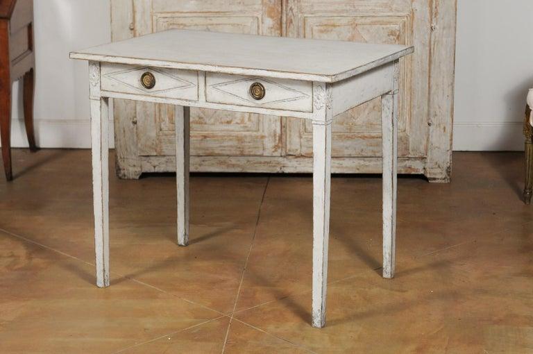Swedish Gustavian Style Painted Wood Desk with Two Drawers and Diamond Motifs 10