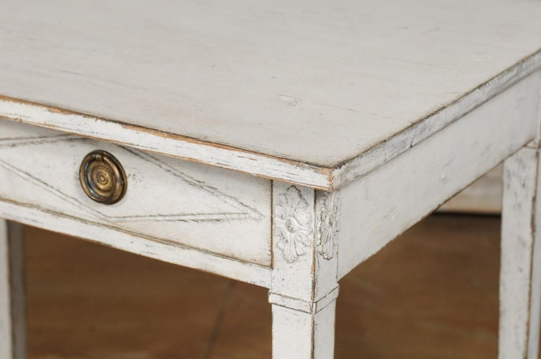 Swedish Gustavian Style Painted Wood Desk with Two Drawers and Diamond Motifs 11