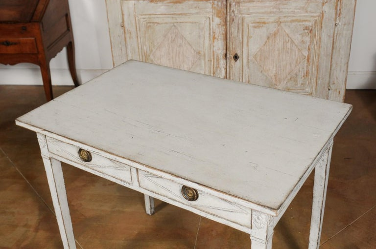 Swedish Gustavian Style Painted Wood Desk with Two Drawers and Diamond Motifs 12