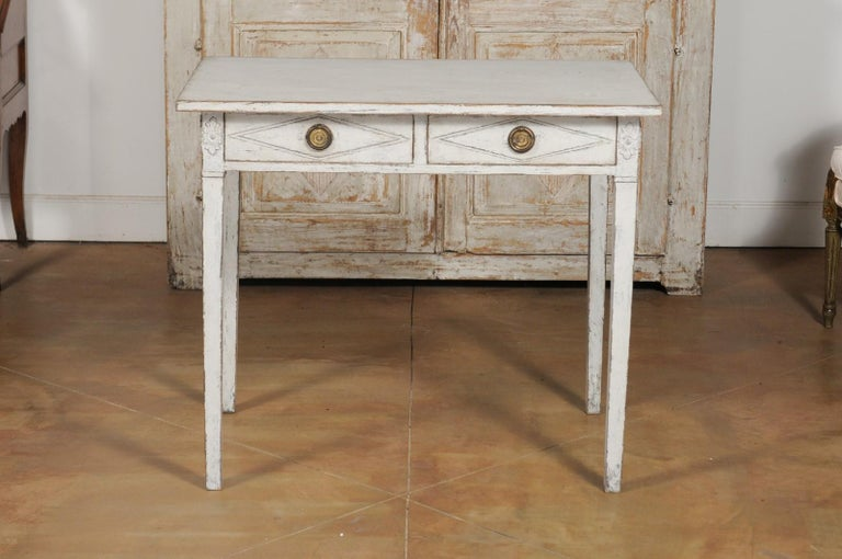 Swedish Gustavian Style Painted Wood Desk with Two Drawers and Diamond Motifs 13