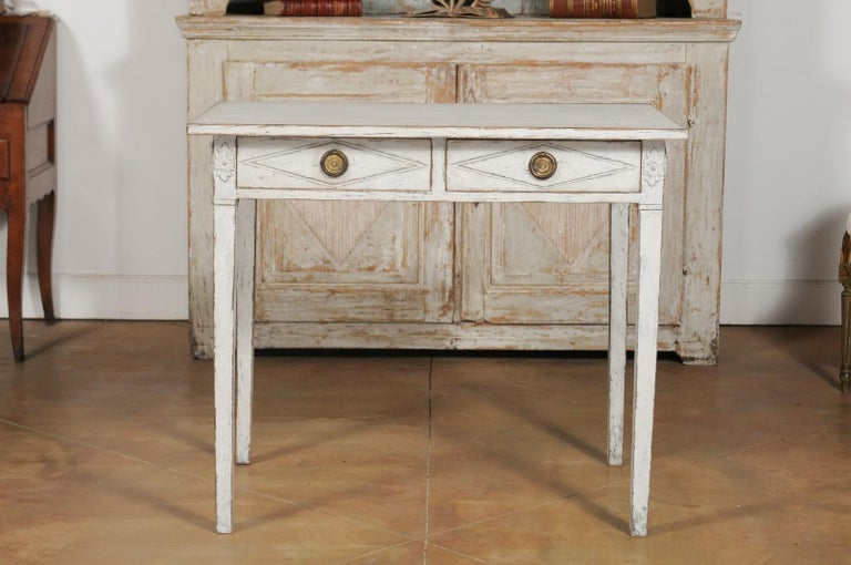 Swedish Gustavian Style Painted Wood Desk with Two Drawers and Diamond Motifs 14