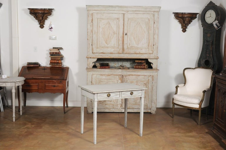 Swedish Gustavian Style Painted Wood Desk with Two Drawers and Diamond Motifs In Good Condition In Atlanta, GA