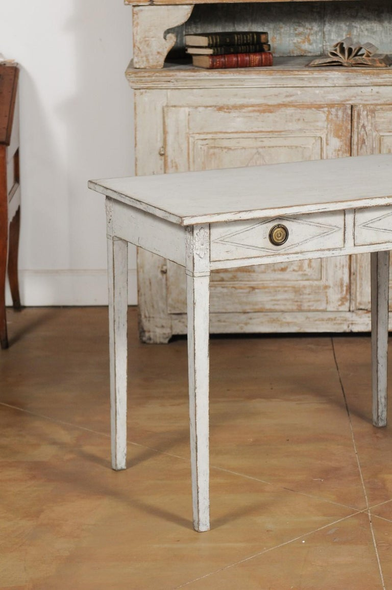 20th Century Swedish Gustavian Style Painted Wood Desk with Two Drawers and Diamond Motifs