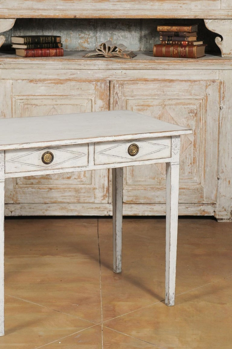 Brass Swedish Gustavian Style Painted Wood Desk with Two Drawers and Diamond Motifs