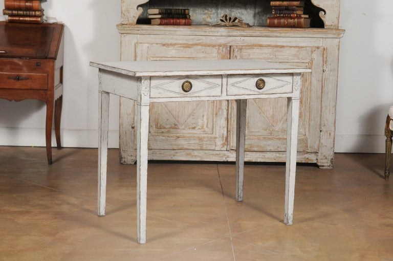 Swedish Gustavian Style Painted Wood Desk with Two Drawers and Diamond Motifs 1