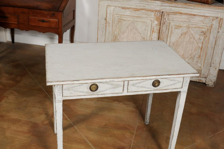Swedish Gustavian Style Painted Wood Desk with Two Drawers and Diamond Motifs 2