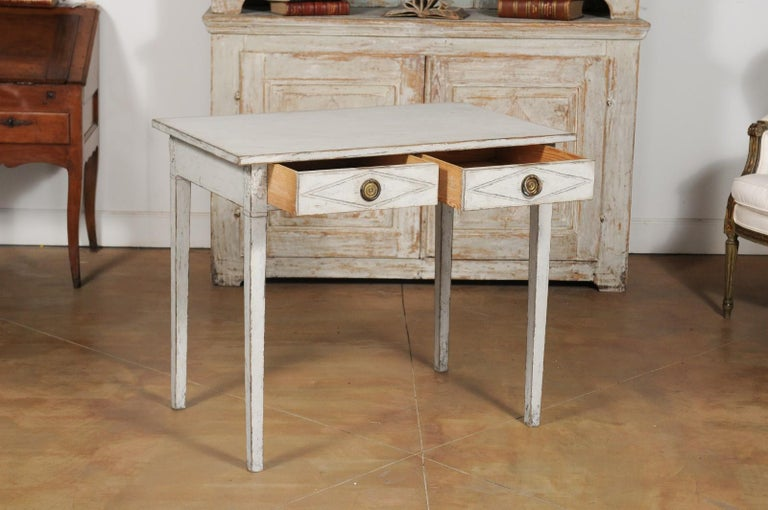 Swedish Gustavian Style Painted Wood Desk with Two Drawers and Diamond Motifs 3
