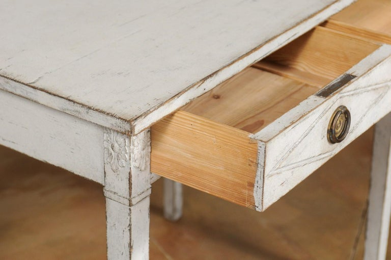 Swedish Gustavian Style Painted Wood Desk with Two Drawers and Diamond Motifs 4