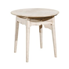 Swedish Gustavian Style Painted Wood Round Side Table with Drawer, circa 1880