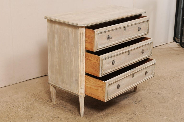 20th Century Swedish Gustavian Style Painted Wood Three Drawer Chest in Pale Grey For Sale