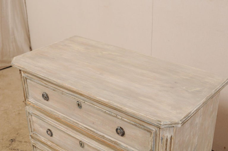 Metal Swedish Gustavian Style Painted Wood Three Drawer Chest in Pale Grey For Sale