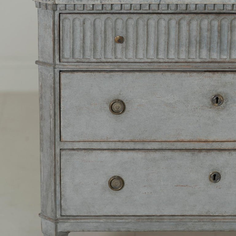 20th Century Swedish Gustavian Style Pair of Painted Bedside Commodes with Marbleized Tops