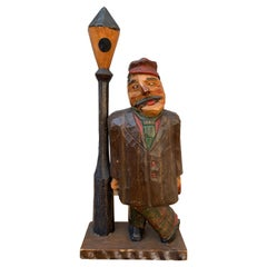 Swedish Hand-Carved Painted Wooden Figure of a Drunk Man, Dated 1931