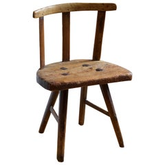 Swedish, Hand-Crafted Side Chair, Solid Wood, 19th Century