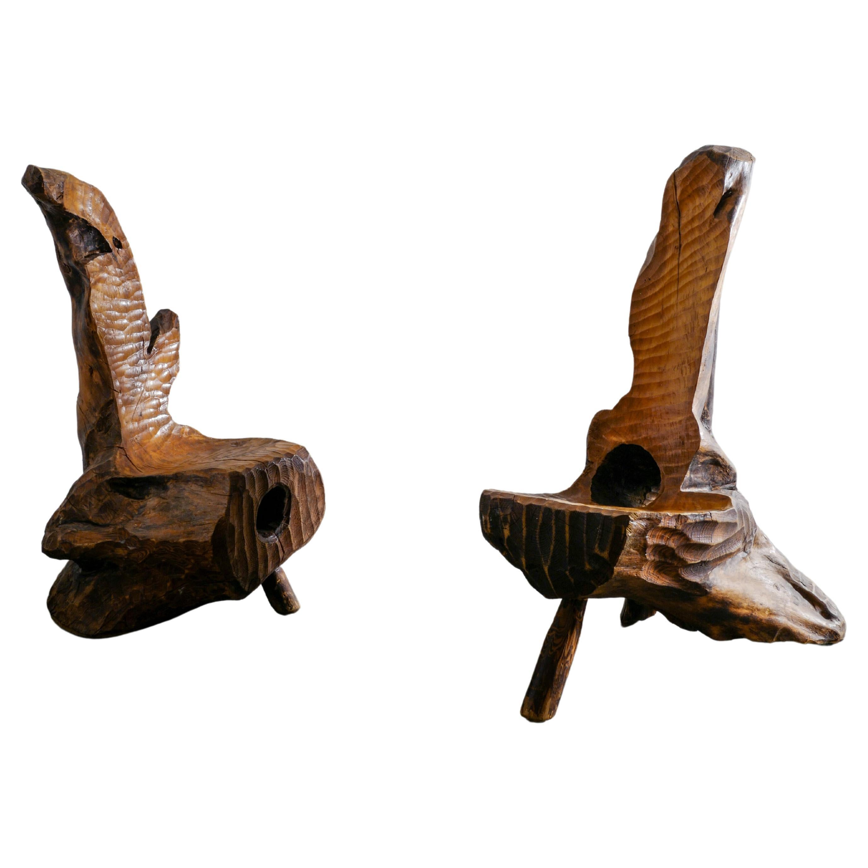 Swedish Hand Made & Sculptural Wooden Chairs in a Primitive and Wabi Sabi Style