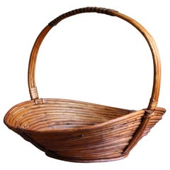 Swedish, Handcrafted Sizable Basket, Bent Wood, Reed, Jämtland, Sweden