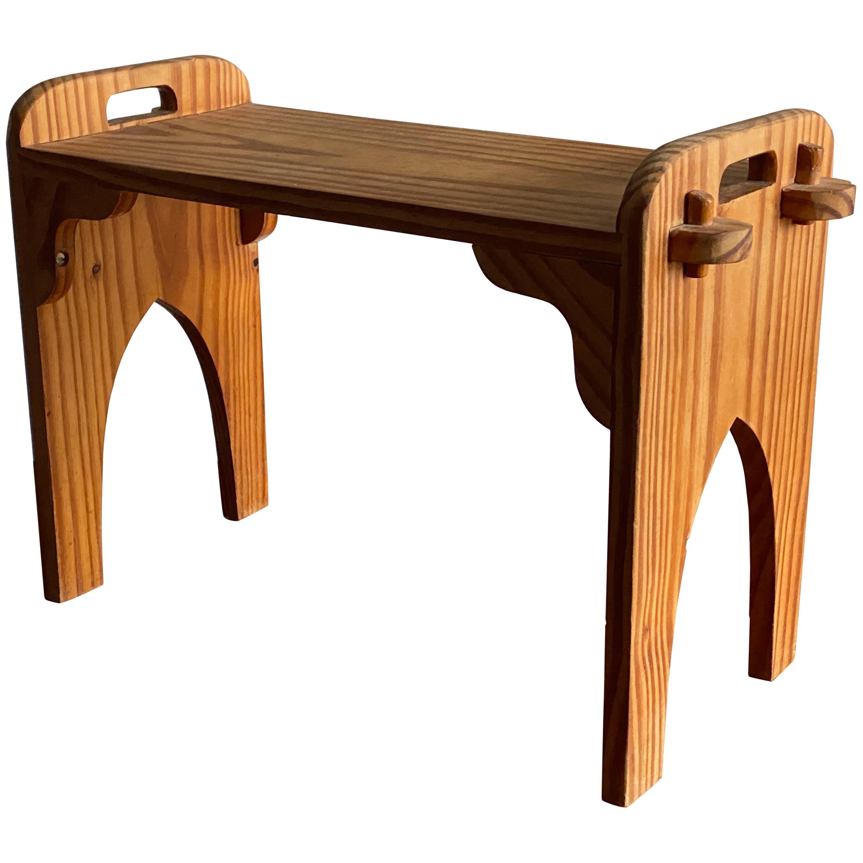 Swedish Handicraft, Rustic Minimalist Stool, Solid Pine, Sweden, 1967