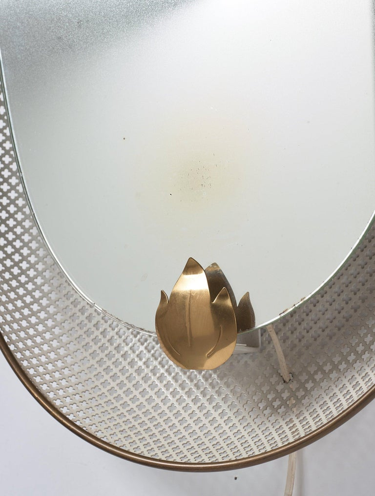 Swedish, Illuminated Wall Mirror, Brass, Perforated Metal, Sweden, 1940s In Fair Condition For Sale In West Palm Beach, FL