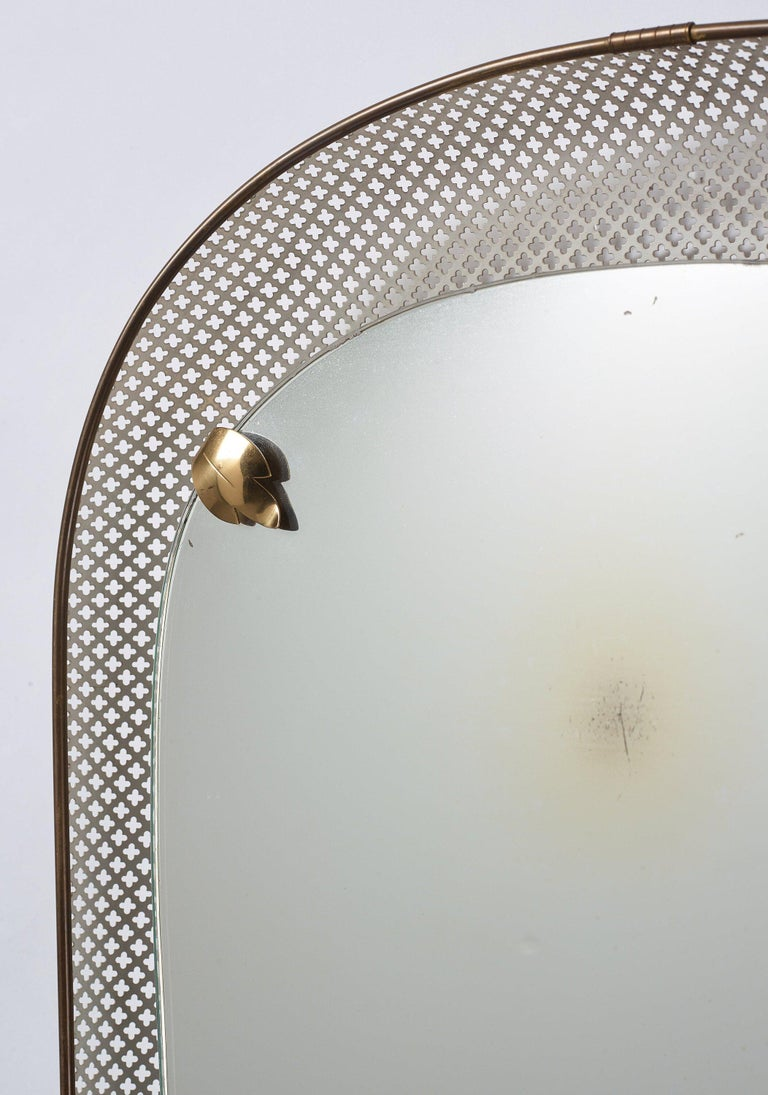 Mid-20th Century Swedish, Illuminated Wall Mirror, Brass, Perforated Metal, Sweden, 1940s For Sale