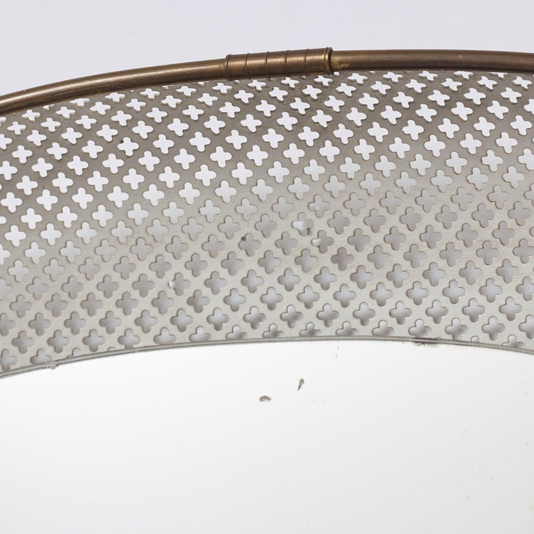Swedish, Illuminated Wall Mirror, Brass, Perforated Metal, Sweden, 1940s For Sale 2