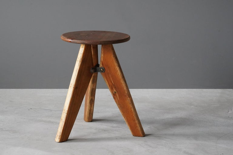 A small modernist stool or side table. Executed by unknown producer, 1960s, Sweden. 