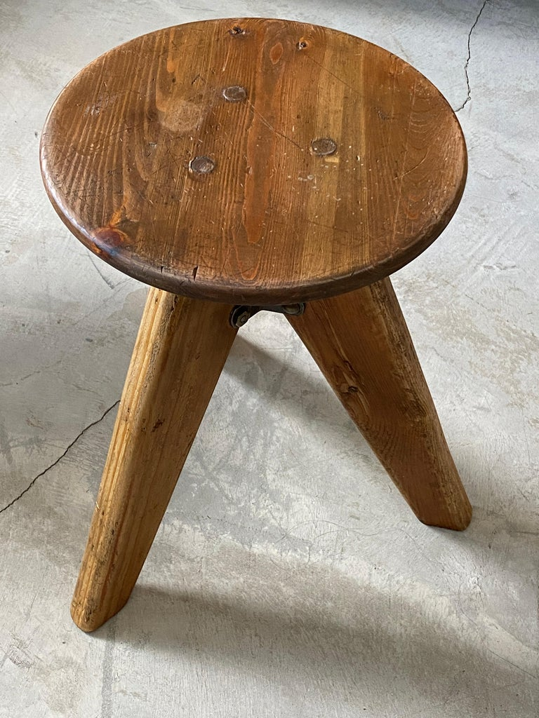 Scandinavian Modern Swedish, Industrial Design Stool, Pine, 1960s, Sweden For Sale
