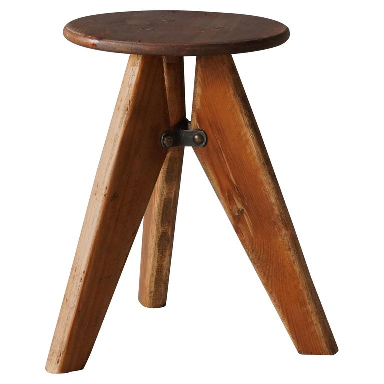 Swedish, Industrial Design Stool, Pine, 1960s, Sweden For Sale