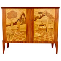 Swedish Inlaid Storage Cabinet by Erik Matsson for Mjölby Intarsia, 1943
