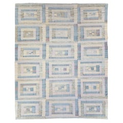 Swedish Inspired Contemporary Handmade Turkish Flat-Weave Kilim Large Carpet